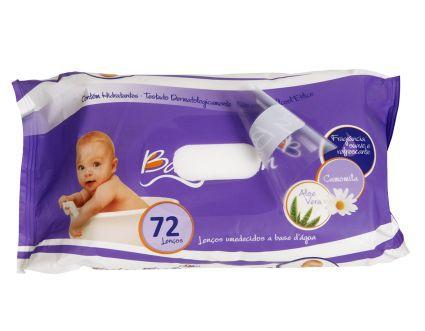 Kit 10 Lenços Umedecidos Pacote Grande 72 uni Baby Bath