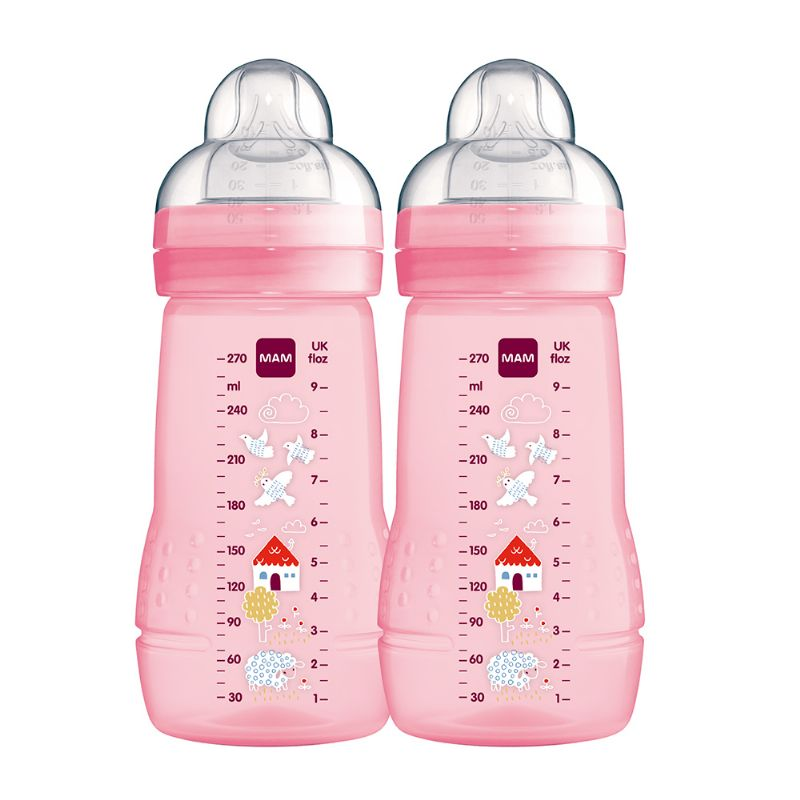 Kit 2 Mamadeiras Easy Active 270ml Rosa - MAM
