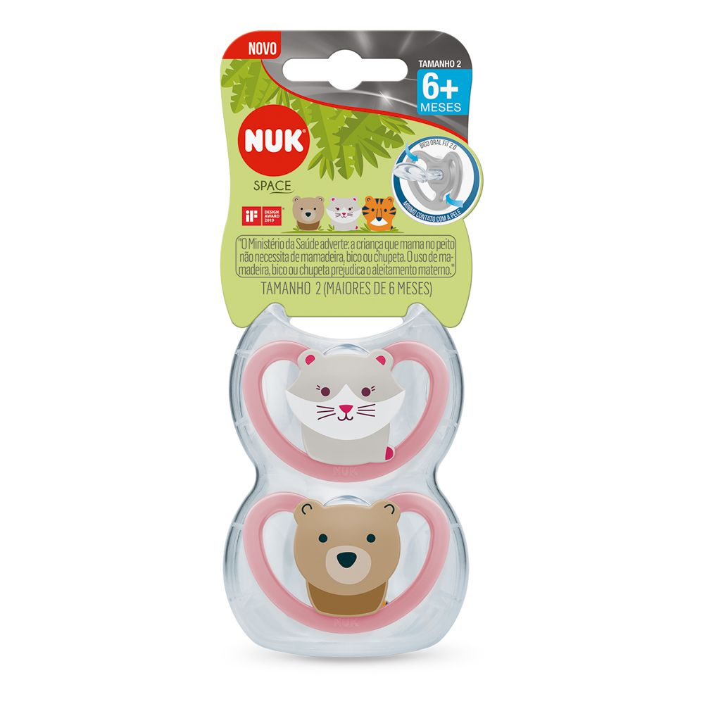 Kit Chupeta Space Silicone 6m+ Girl (2 unidades) - NUK