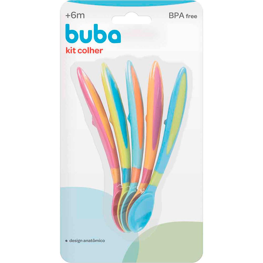 Kit com 5 Colheres para bebê Coloridas - Buba