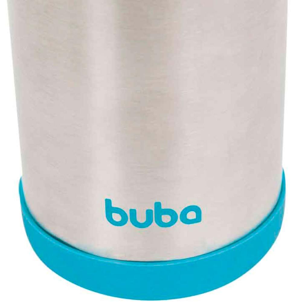 Kit Garrafa Térmica azul 420ml Inox com Canudo EXTRA Buba