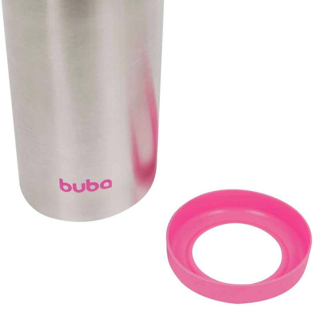 Kit Garrafa Térmica rosa 420ml Inox com Canudo EXTRA Buba