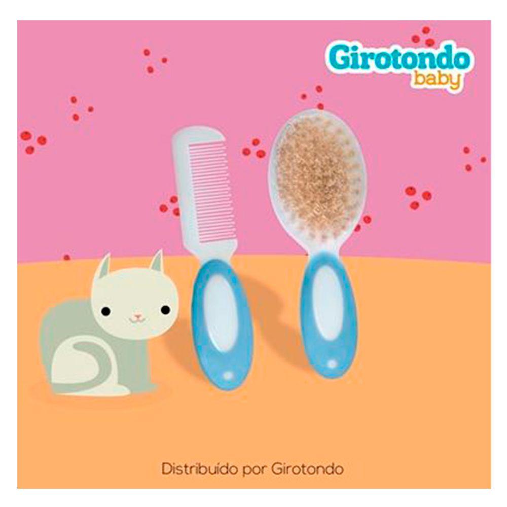 Kit Pente e Escova Cerdas Naturais Azul - Girotondo Baby