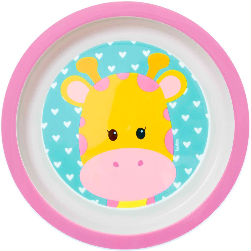 Kit Talheres + Pratinho para bebês Girafa Alimentação Fun Buba