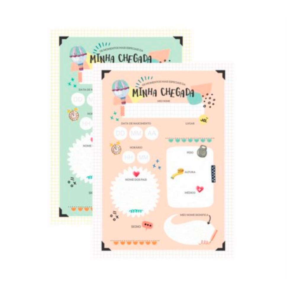 Poster para Quadro Chegada do Bebê Aquarela Verde - Colorê