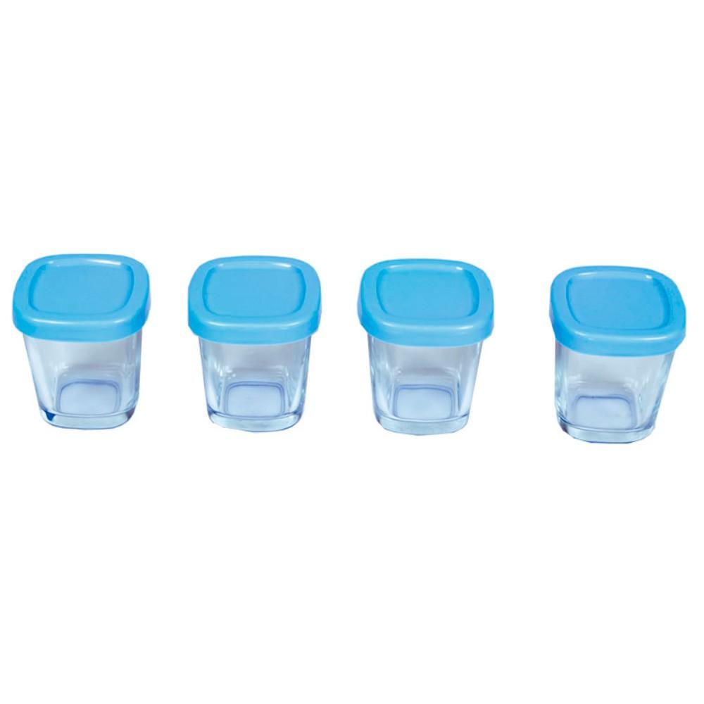 Potes de Vidro Armazenamento Leite Materno Azul (4 unidades) - Clingo