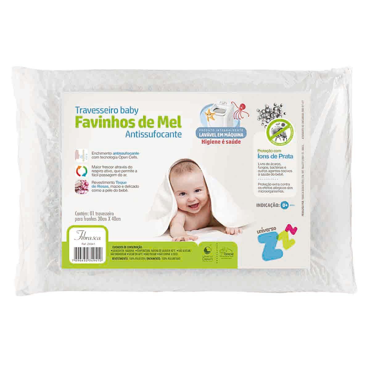 Travesseiro Favinhos de Mel Antissufocante Baby 6m+ - Fibrasca