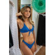Biquíni Top Amarração + Asa Delta Azul Fio Duplo Confort Premium