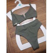 Biquíni Top Aro V + Hot Pants Cavada Verde Militar Fio Duplo Confort Premium