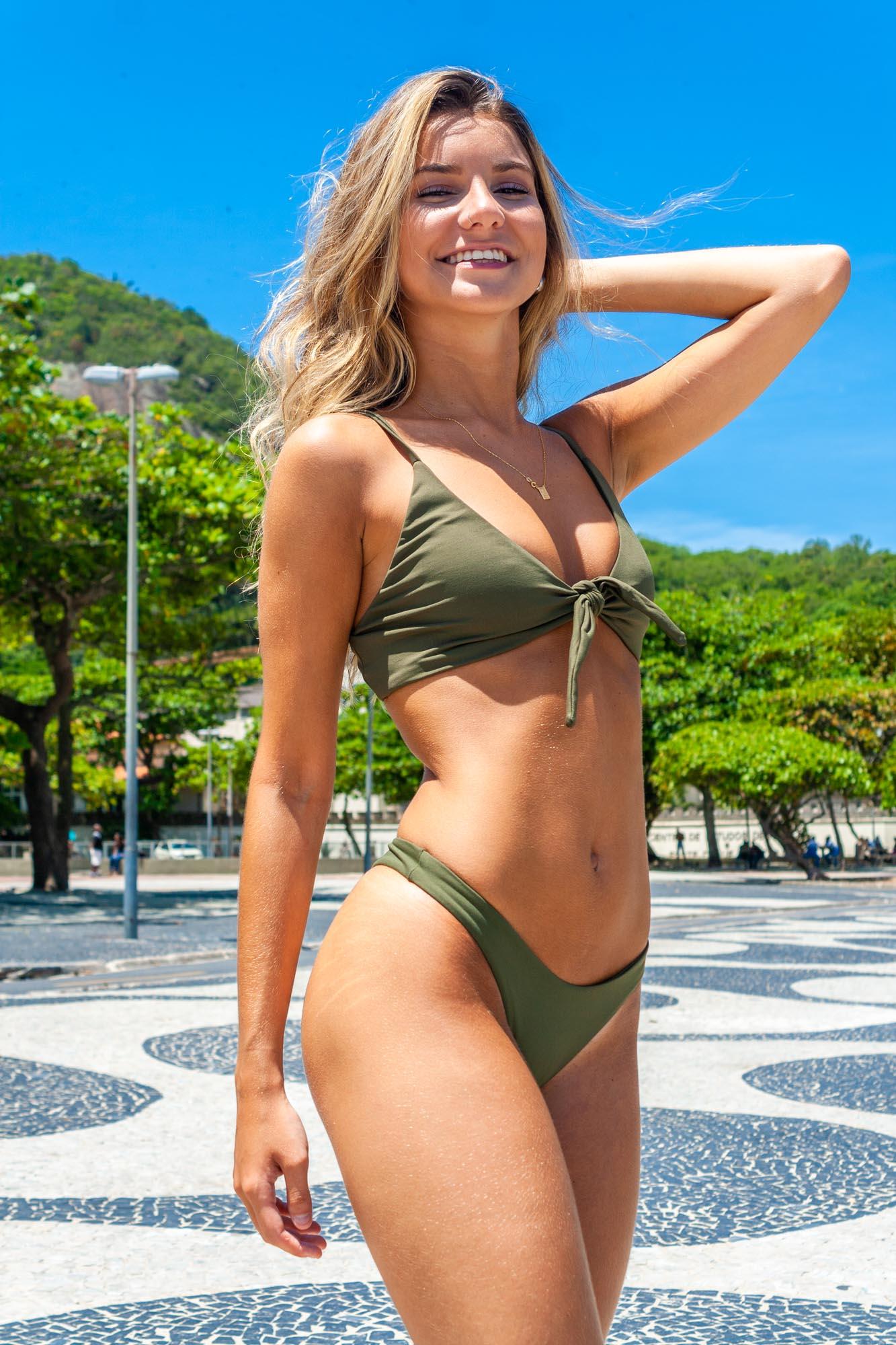 Biquíni Top Amarração + Asa Delta Verde Militar Fio Duplo Confort Premium