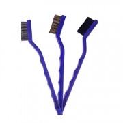 Kit com 3 Escovas para Detalhamento Automotivo - Nylon, Latão e Aço Inoxidável - Vonixx