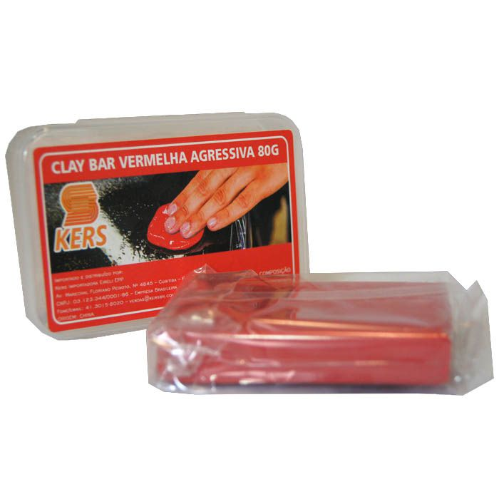 Clay Bar Vermelha Agressiva - 80gr - Kers