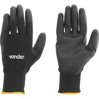 Luva de poliéster com poliuretano, preta, tamanho 9, PPV 1009 VONDER