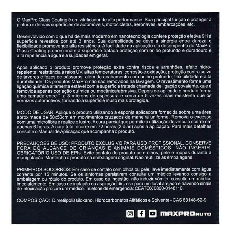 Maxpro Glass Coating 9H - Vitrificador Alta Performance - 20ml