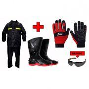 Kit Conjunto Motoqueiro, Bota Motosafe e Luva Motorcycle Volk
