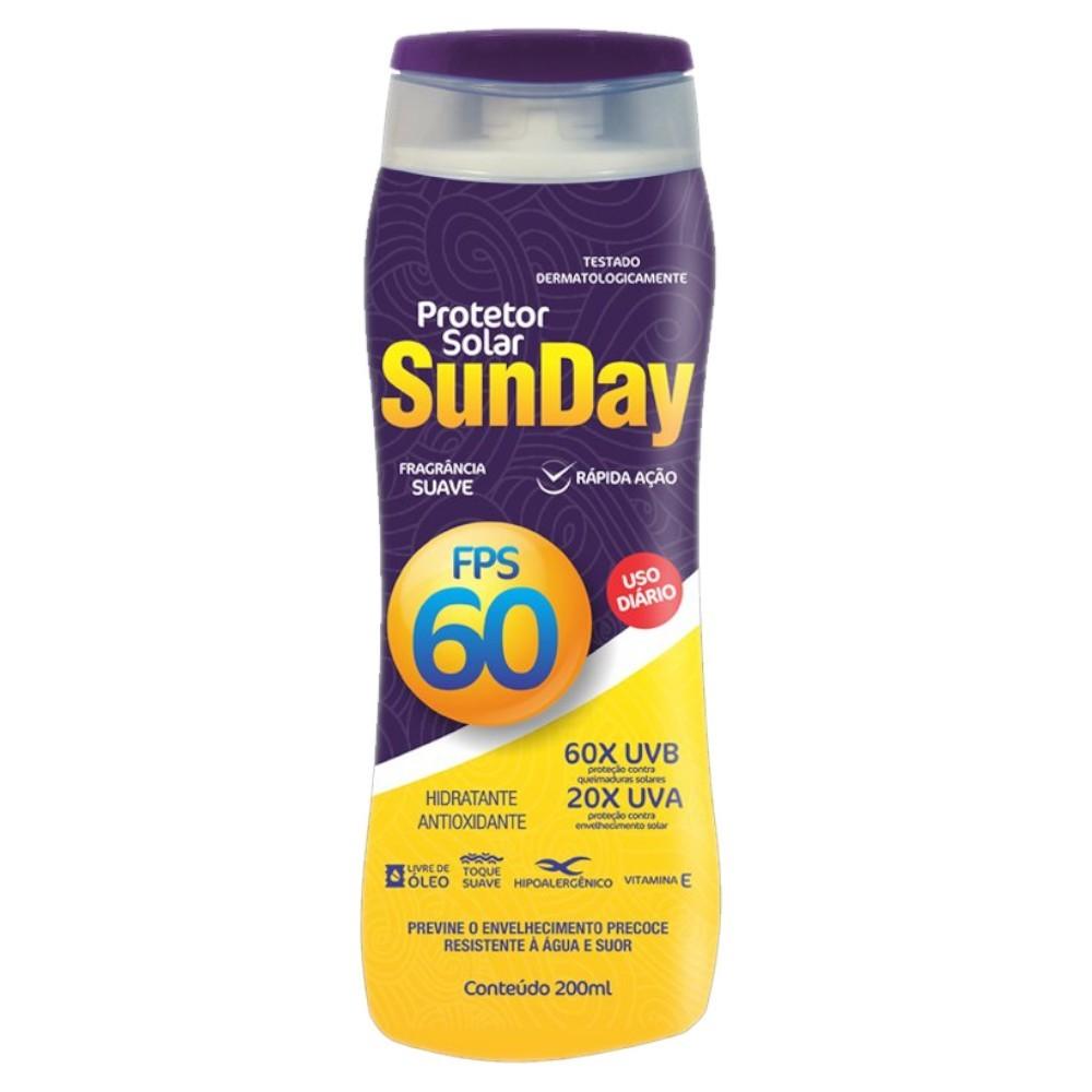 30 un. protetor solar fps 60 sunday 200 ml sem oleo uva uvb