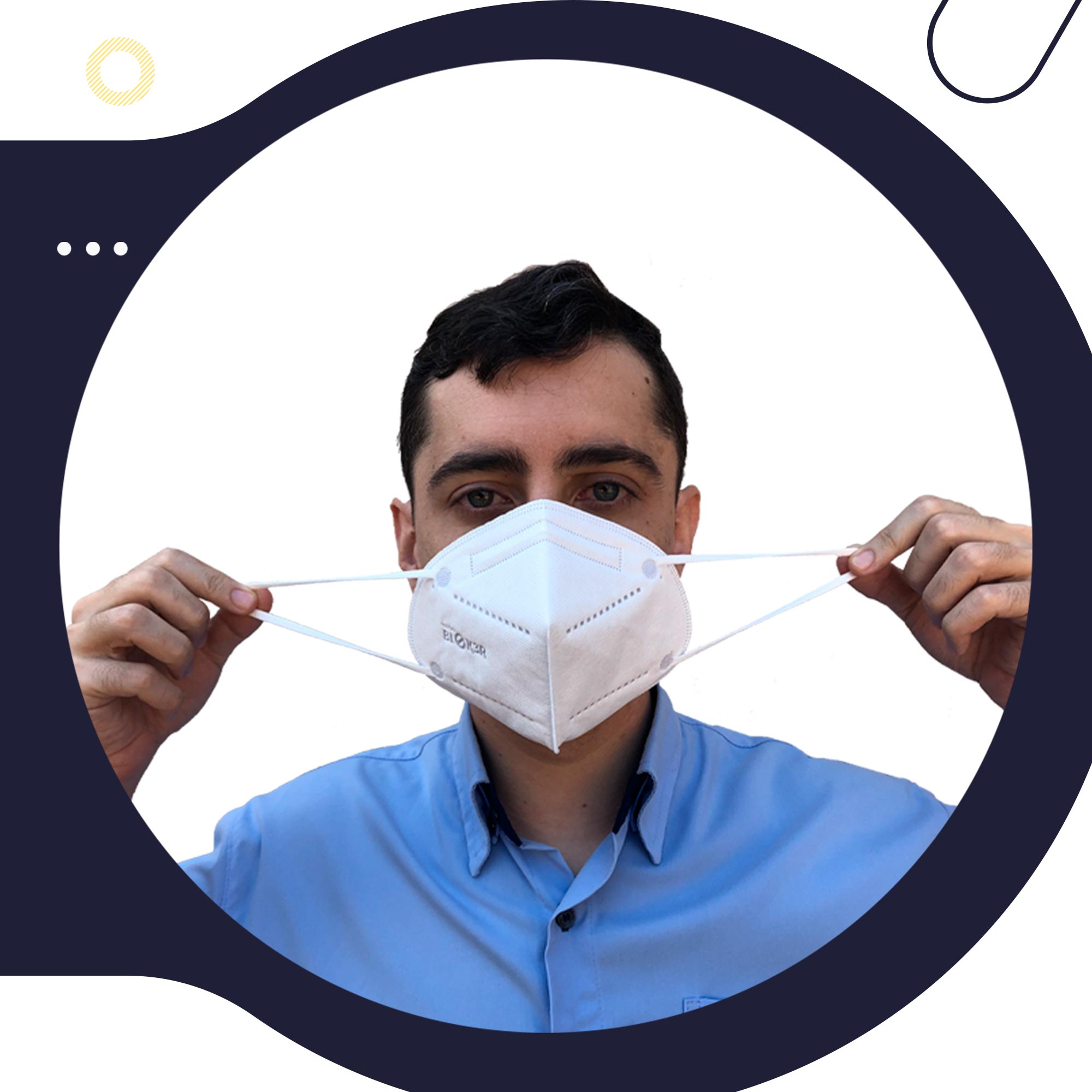 50 Máscara de Proteção Respiratória Hospitalar N95 Bloker