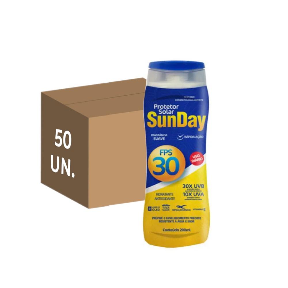 50 un. protetor solar fps 30 sunday 200 ml sem oleo uva uvb