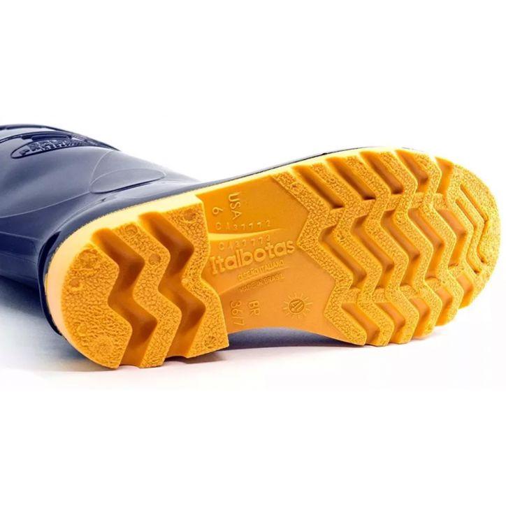 Bota de PVC Cano Longo Forrada Azul e Amarela - Italbotas
