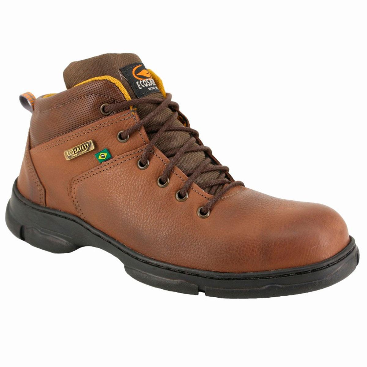 Sapato de segurança executivo em Couro Fox Marrom - Ecosafety