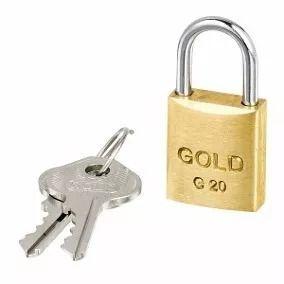 Cadeado Latão Maciço 20 mm - Gold