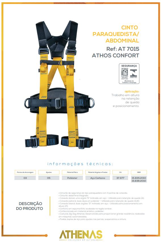 Cinto Paraquedista Abdominal com 3 pontos de ancoragem AT 7015 ATHOS CONFORT - Athenas