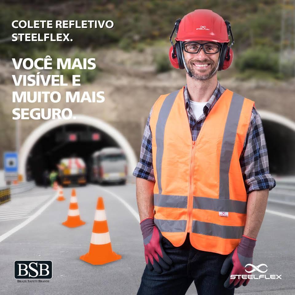 Colete Refletivo com Fechamento em Zíper Sem Bolso Amarelo / Laranja - Steelflex
