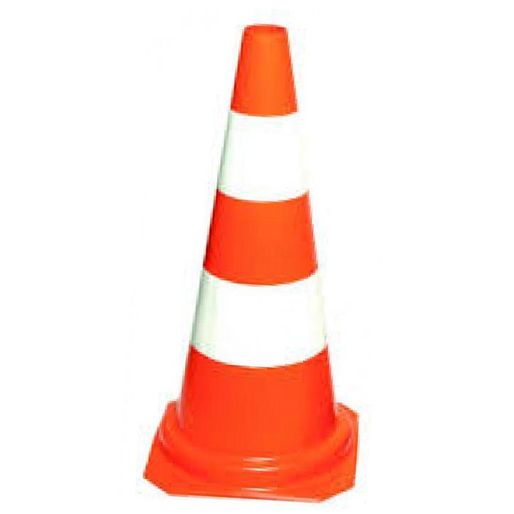 Cone de Sinalização Zebrado 75 cm - Plastcor