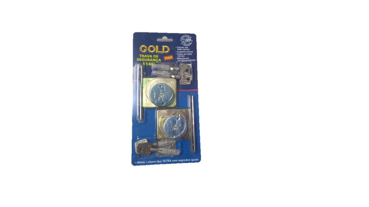 Fechadura Trava de Segurança Tetra 1140 (par) - Gold