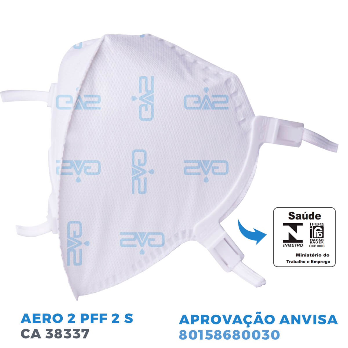 Kit 150 Mascara Respiratória Hospitalar PFF2 N95 GVS Com ANVISA e INMETRO no ATACADO