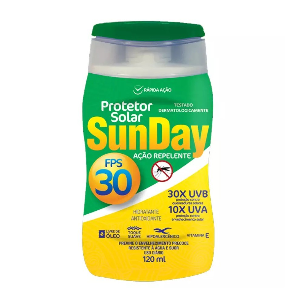 Kit 15 Protetor Solar Com Repelente Sunday Fps 30 120ml