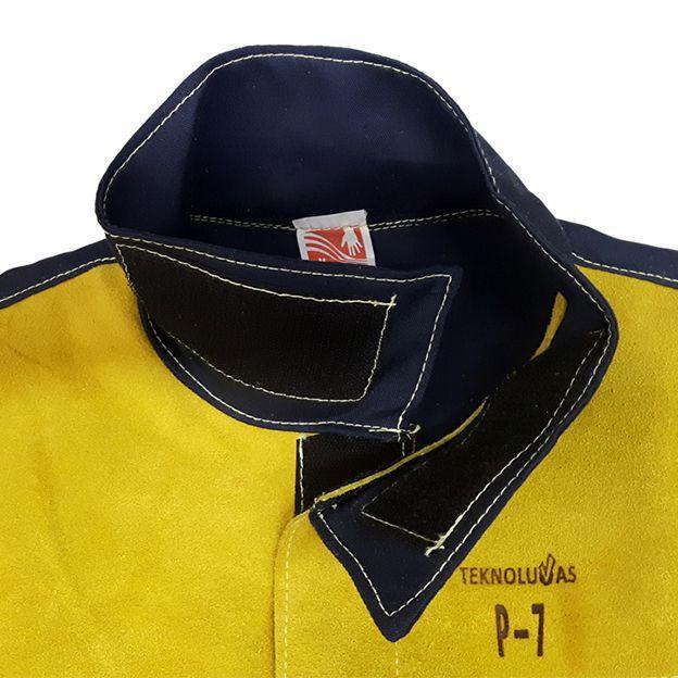 Kit Soldador Blusão de Raspa e Brim + Calça com Proteção + Luva Work-tek