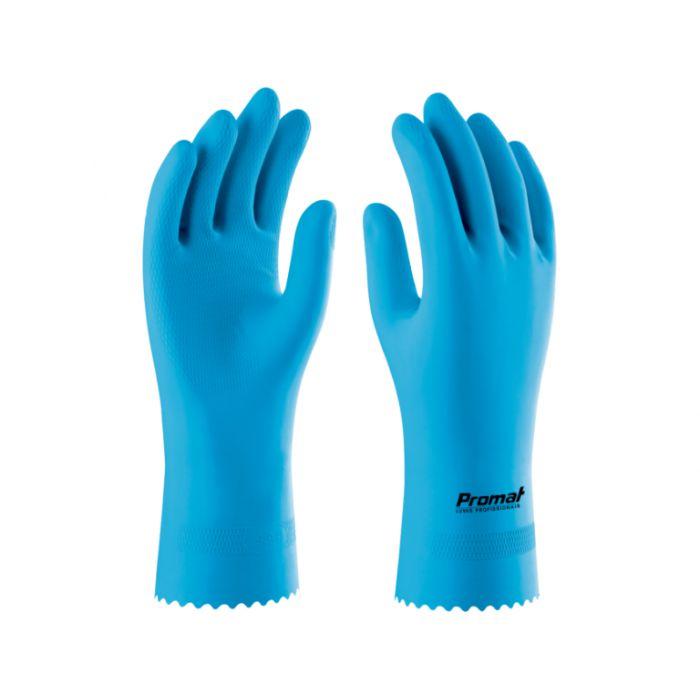 Luva Antialérgica de Látex Azul Com Forro em Verniz Silverflex - Promat