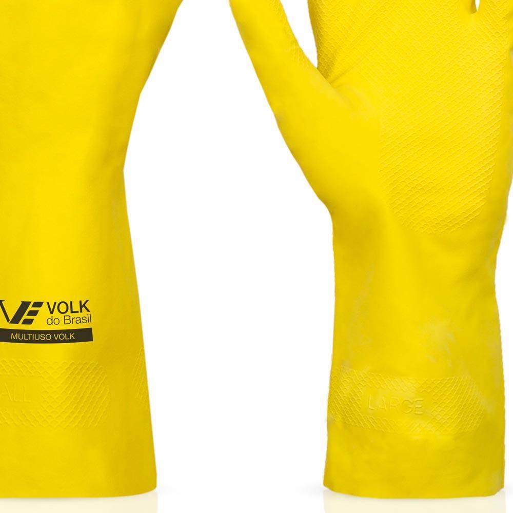 Luva de Látex Multiuso Amarela - Volk