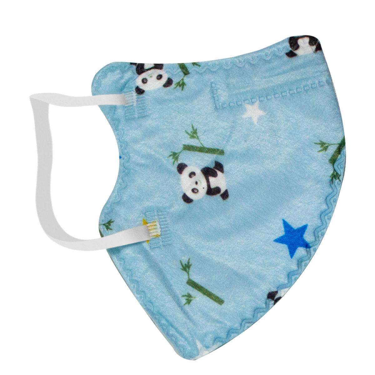 Máscara Infantil KN95 Semi Descartável Azul Com Desenho Panda Com Duas Unidades