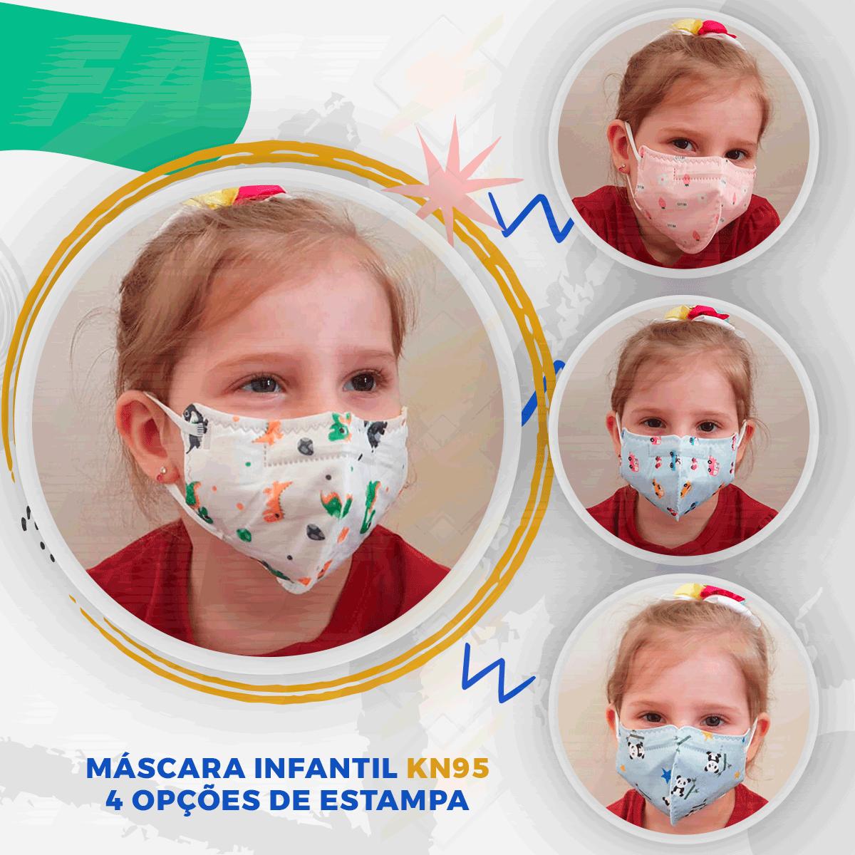 Máscaras Infantis Kids Kn95 Estampa de Dinossauro  10 Unidades  Jiada