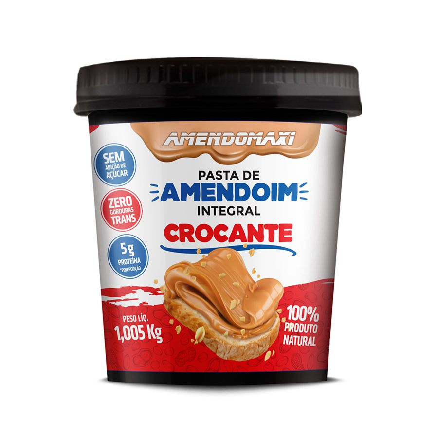 Pasta de Amendoim Integral Crocante 1Kg - Amendomaxi