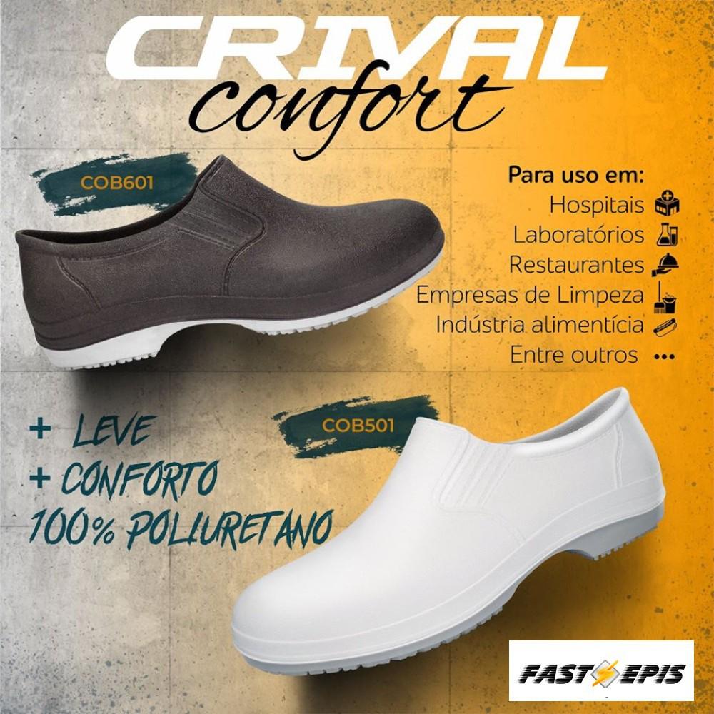 Sapato de Segurança Ocupacional Antiderrapante Branco - Confort Crival