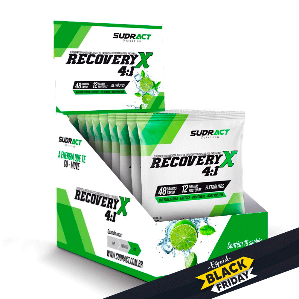 Suplemento Alimentar Recovery X 4:1 CX C/10 UN de 65g Sudract Nutrition