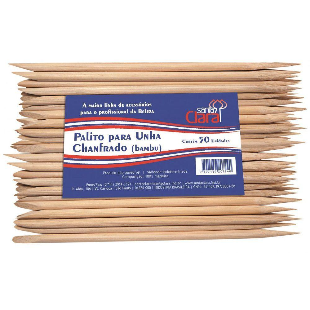 100 Palitos de unha Santa Clara descartável 2 pontas de Bambu