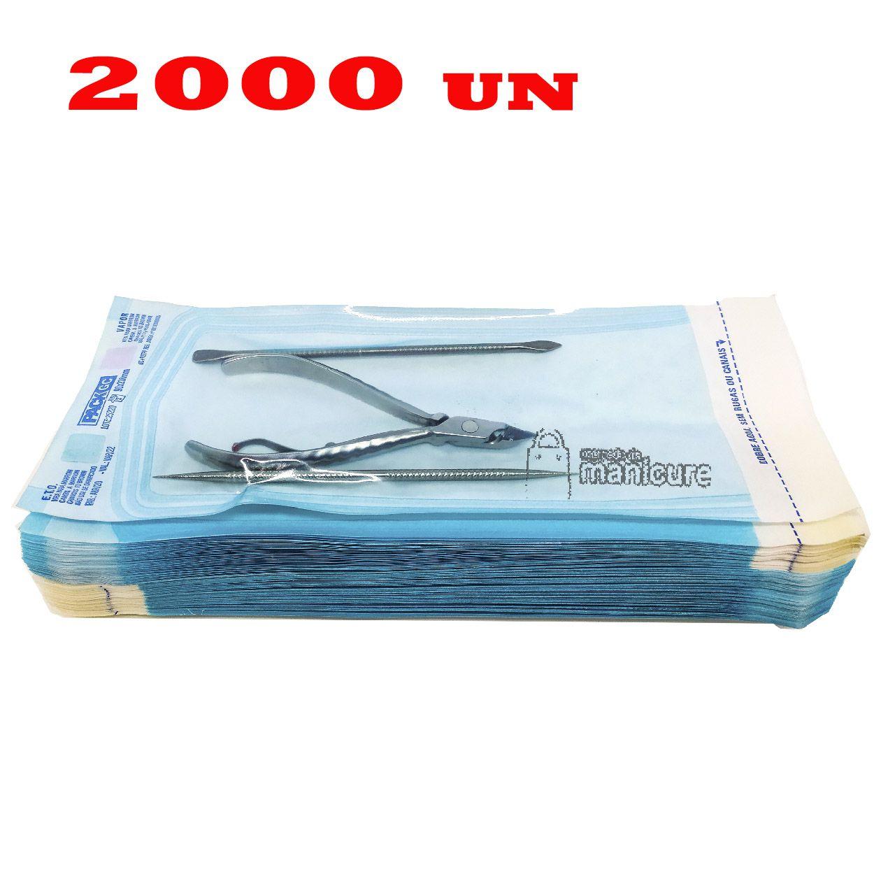 2000 Envelopes para esterilização de alicate de cutícula 9cm x 23cm Veda Max