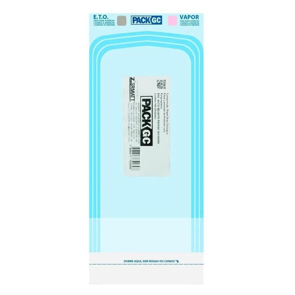 Envelope para esterilização de alicate de cutícula Packgc  9 cm x 23 cm  caixa c/ 100 uni