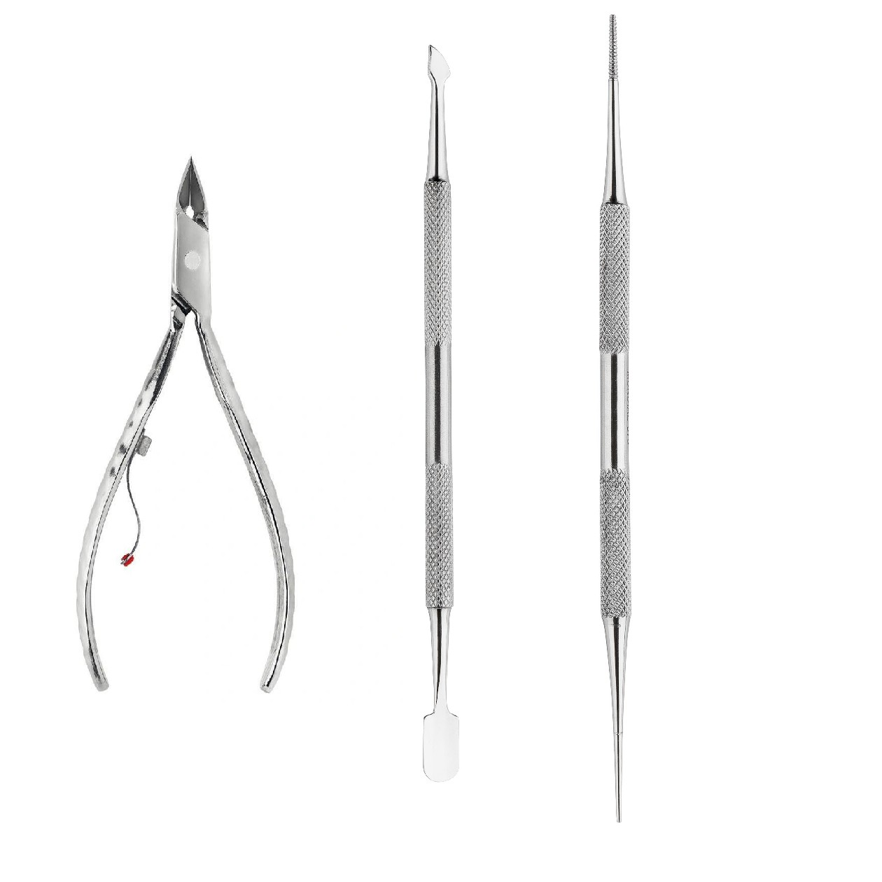 kit manicure Mundial profissional c/ Alicate de cutícula, Espátula de cutícula, Palito de unha inox