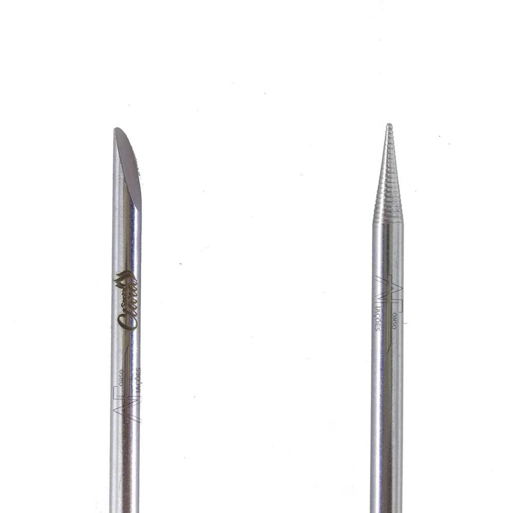 Palito de unha inox Santa Clara com 2 pontas lisa e chanfrada 12 cm ref 722