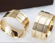 Aliança de Casamento Trabalhada em Ouro 10k 5mm - A123