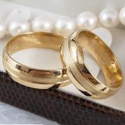 Aliança de Casamento Trabalhada em Ouro 10k 8mm - A125