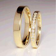 Alianças Casamento Quadrada Ouro Acabamento Liso 4mm - A102
