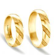 Alianças Casamento Noivado Ouro Acabamento Fosco e Liso 5mm - A050