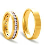 Alianças Casamento Ouro 5,5mm Quadrada com Zircônias - A144