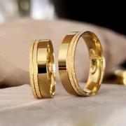 Alianças de Casamento Trabalhadas em Ouro 10k 3mm - A111